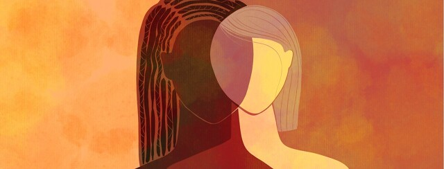 A female of color is next to a caucasian female, with their heads meeting in the middle in a sort of venn diagram