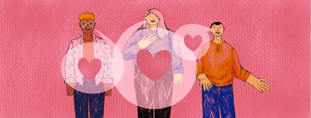 Three people speaking out are connected by overlapping speech bubbles with hearts in them