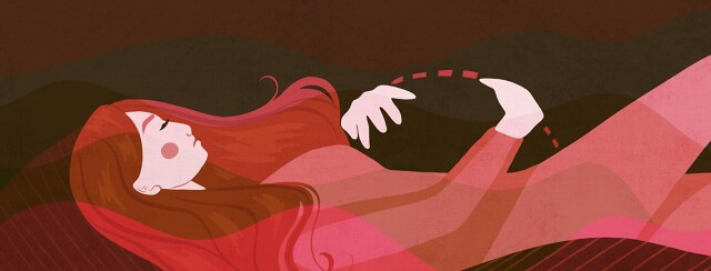 A woman lies down and clutches an empty space where she's wishing her growing womb was