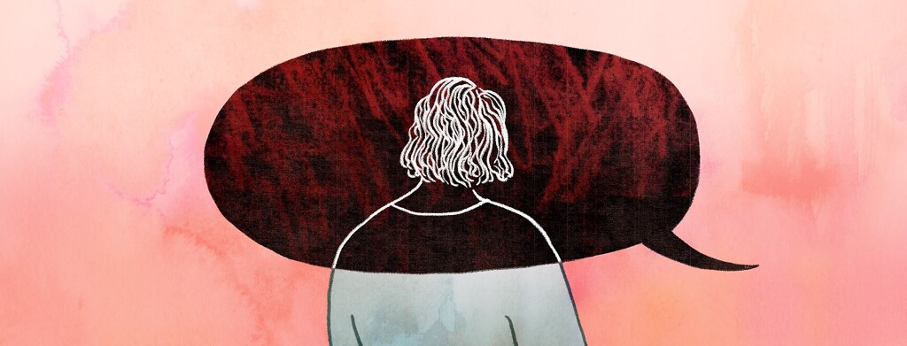 A woman's head and shoulders are overlapped by a giant dark speech bubble bearing bad news, totally overwhelming the peaceful colors of the rest of her surroundings
