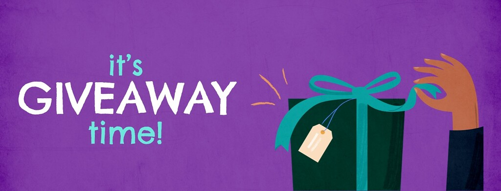 """A hand opens a gift box with a teal ribbon with the text """"It's Giveaway time!"""""""