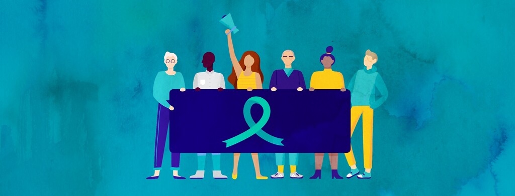 A group of people barch behind a banner with image a teal ribbon, one holding a megaphone