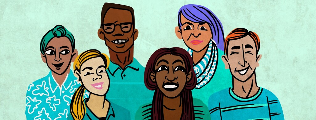 A group of diverse people wearing teal and smiling