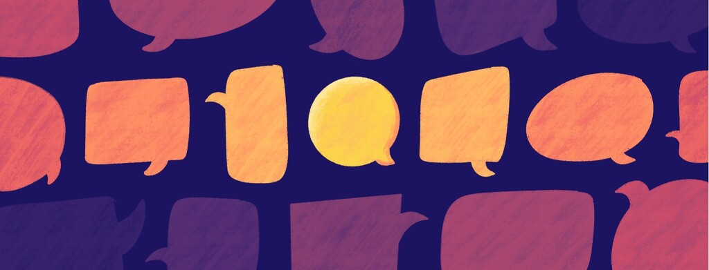 Multicolored speech bubbles lined up, with one central bubble highlighted brightly