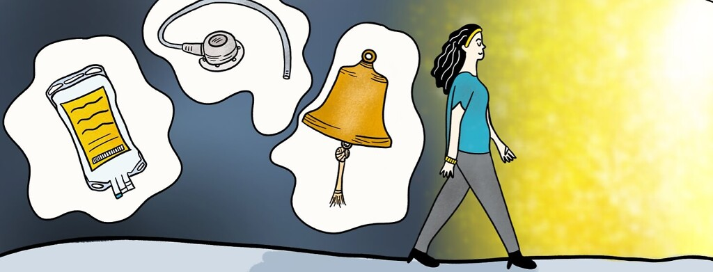 woman walking into a brighter future leaving behind chemo treatment, chest port, and the cancer free bell.
